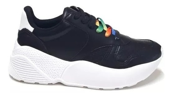 Zapatillas Mujer Negra Plataforma Vía Marte 18-10601 Importa