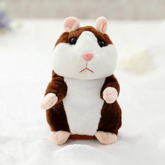 Brinquedo Hamster Falante Marrom Educativo 15cm