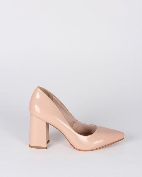 Sapato Scarpin Feminino Verniz Nude+frete Grátis
