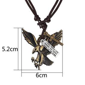 Colar Águia Bronze Americana Gargantilha De Couro Ajustável