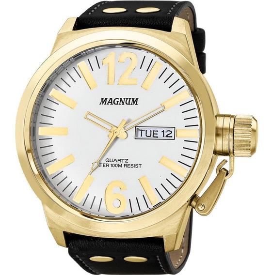 Relógio Masculino Magnum Em Couro Ma31524b Com Calendário