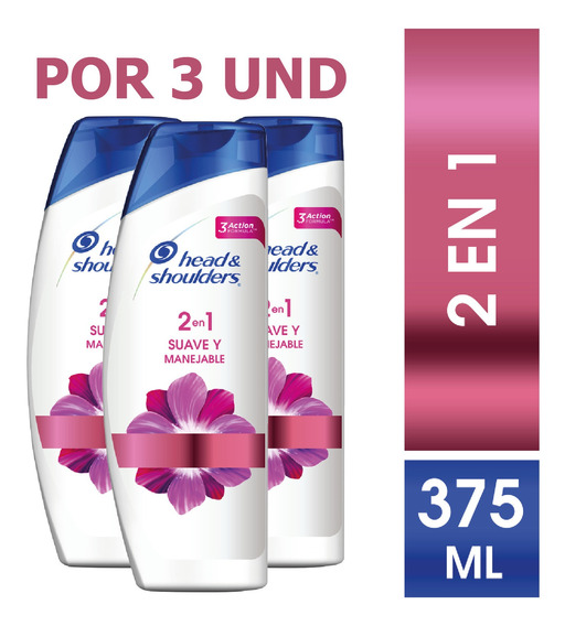 Shampoo Head & Shoulders 2en1 Suave Y Manejable 375ml X3 Und