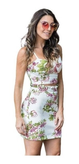 Conjuntinho Cropped E Saia Top Floral Lindo Moda Alfaitaria