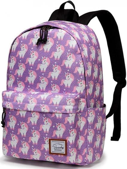 Mochilas Escolares Kit Unicornio Morada Niñas Primaria