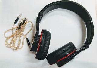 Auricular Vintage Style Hsg-178 Rojo Y Negro