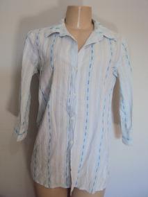 Mini Vestido /blusão Azul E Branco Listrado Manga 3/4 Tam M