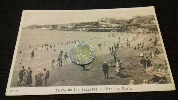 Mar Del Plata Foto Postal Antigua Playa De Los Ingleses