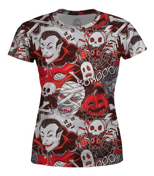 Camiseta Baby Look Feminina Monstros Do Horror Estampa Total