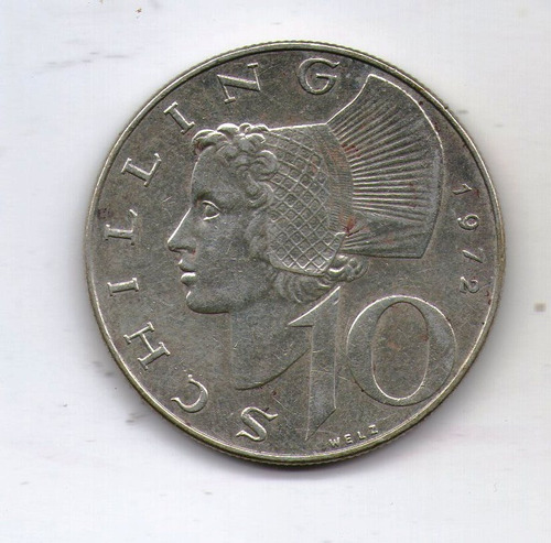 Austria Moneda Plata 10 Schilling 1972 Km#2882 - Argentvs