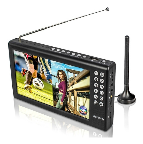 Tv Digital Tela 7 Hd Portátil Com Bateria Usb Rádio Fm Mp3