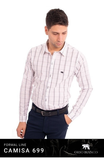 Camisa Hombre Slim Fit Cuadros Formal Orso Bianco Xl