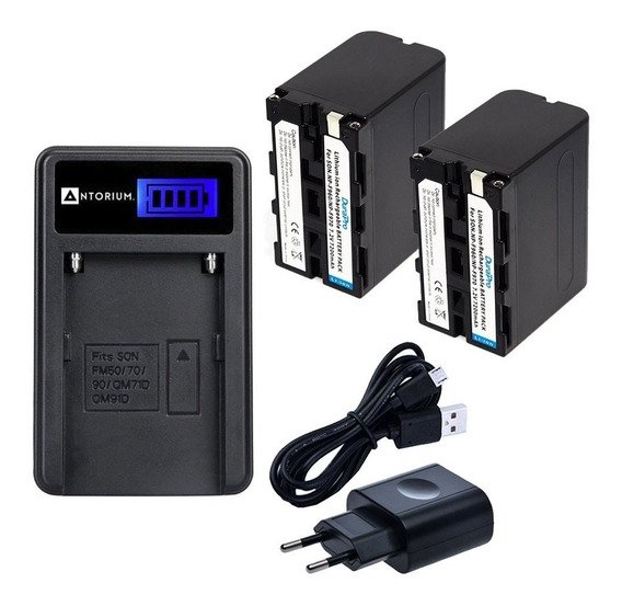 Carregador +2x Bateria Sony F970 7200mah Np-f970 N F750 +nf