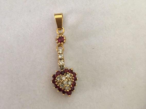 Dije Rubíes Autenticos Diamantes Naturales Oro 14k