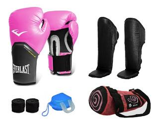 Kit Muay Thai Luva Everlast + Caneleira + Acessórios + Bolsa
