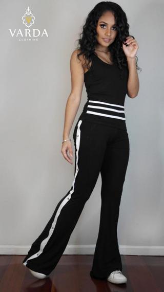 Conjunto Calça + Camiseta/varda Clothing/ Preto C Branco