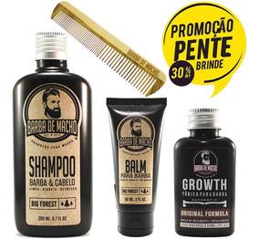 Kit Cresce Barba Shampoo Balm Hidratante Tonico 100% Natural