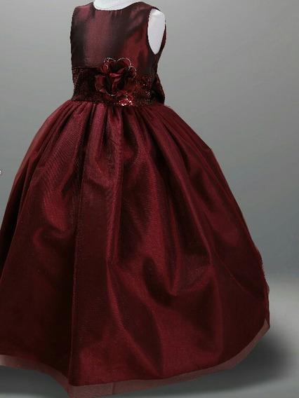 Vestido De Fiesta/ Paje Niña Palo De Rosa, Tinto Y Blush