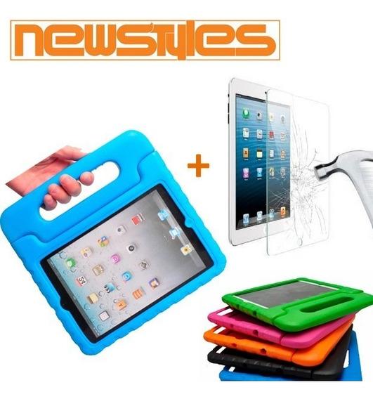 Capa + Película Vidro Criança Infantil iPad 2 3 4 Proteção