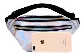 Pochete Feminina Masc Grande Rosa Holográfica Smartphone Mãe