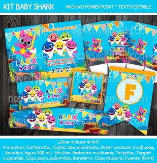 Kit Baby Shark Invitación Etiquetas Candy Fiesta Cake Topper