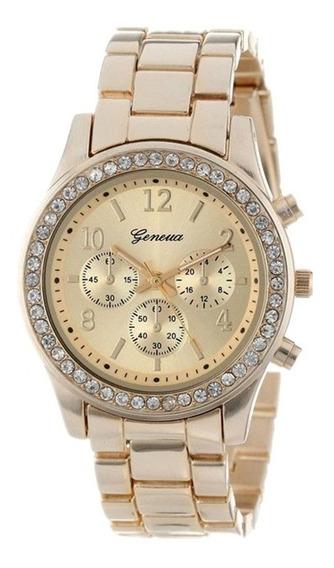 Relógio De Pulso Feminino Geneva Dourado Bisel Com Strass