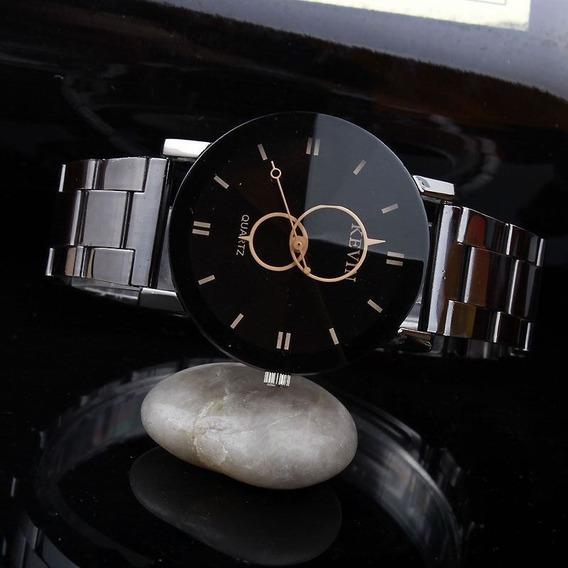 Relógio Barato Masculino Feminino Kevin Aço Cromado Prata