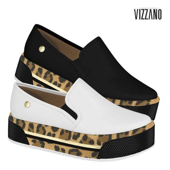 Tênis Vizzano Slip On Flatform Plataforma Animal Print Onça