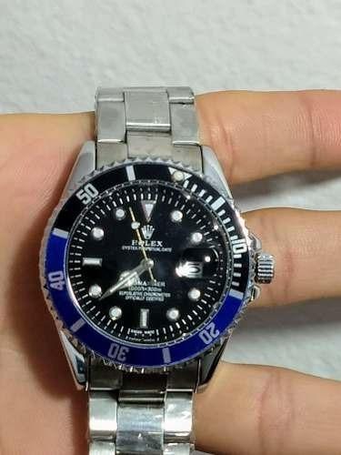 Relógio Masculino Fundo Preto - Azul/ Preto - Rolex