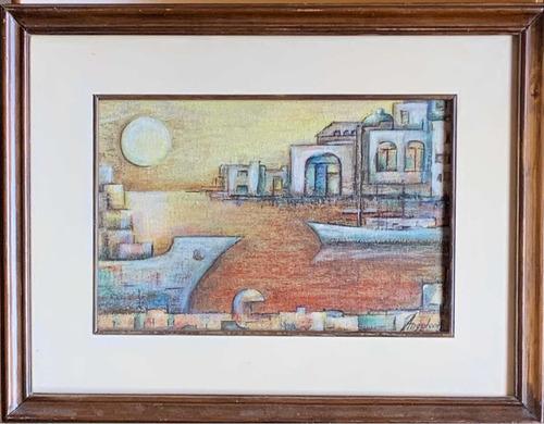 Pintura Óleo Puerto Sobre Tela Con Marco Madera 33 Por 43 Cm