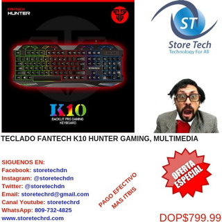 Teclado Fantech K10 Hunter Gaming, Multimedia