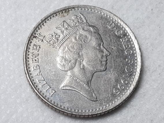 Reino Unido 10 Peniques, 1995 Cuproníquel Km# 938b Lote 4948