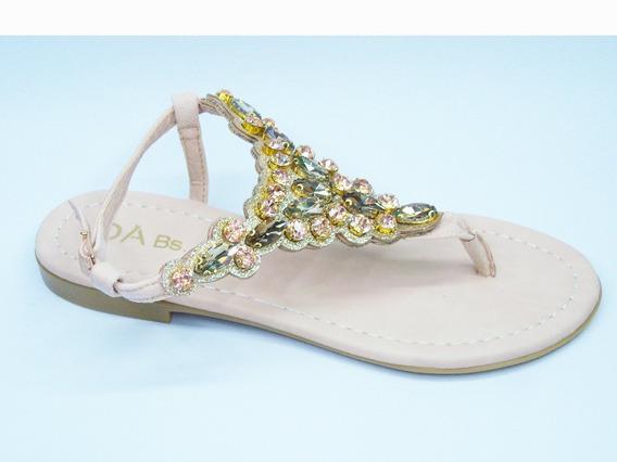 Sandalia Ojota Piedras Mujer Chatita Brillos Zapatos 733