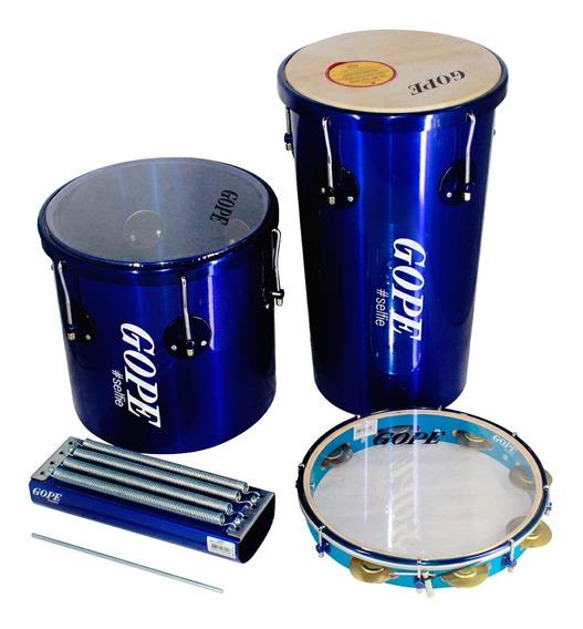 Kit Percussão Gope Rebolo 10pol, Repique 10pol, Pandeiro 11pol E Reco Reco 4 Molas Azul Selfie
