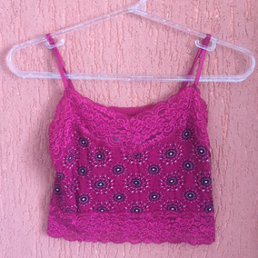 Top Cropped Com Renda Pink