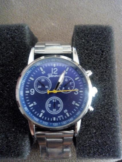 Relógio Gênova Prata Fundo Azul
