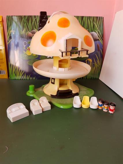Brinquedo Com Defeitos Antigo Casa Cogumelo Mundo Feliz Trol