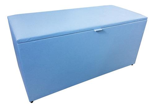 Imagem 1 de 2 de Puff Baú Porta Objetos Retangular 40x90x45cm Azul Claro