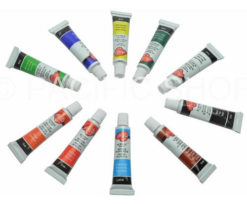 Pintura Acrilica 10 Unidades Calidad Profesional 12ml C/u