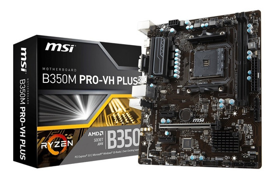 Placa Mãe Msi B350m Pro-vh Plus Amd Am4 Ryzen Ddr4 B350