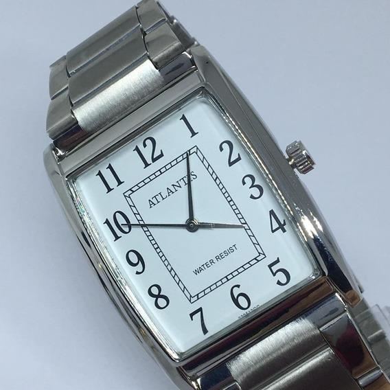Relógio Unissex Quadrado Atlantis Original Prata+frete+caixa