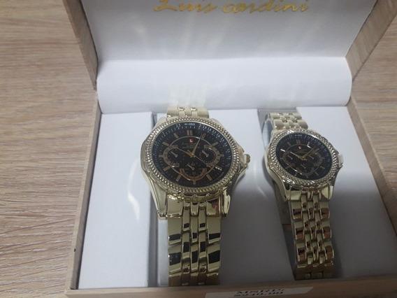 Relógio Luis Cardini,usa. Casal Masc-fem Cx Personalizada