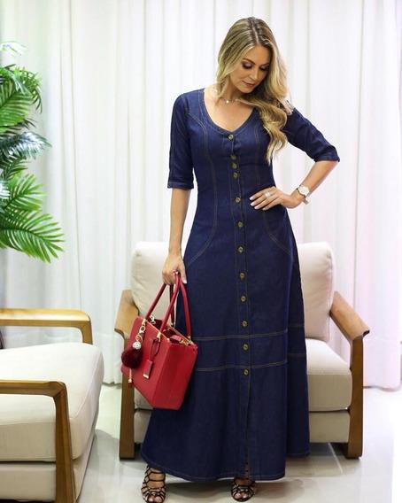 Vestido Feminino Jeans Longo Moda Evangélica (liso E Poá)