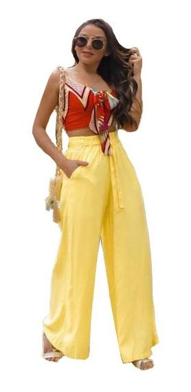 Calça Pantalona Feminina Com Elástico Na Cintura Moda