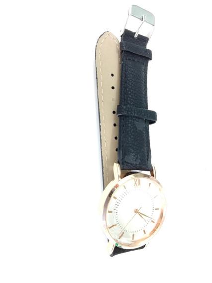 Relógio Unissex Médio Pulseira Couro Sintético Costurada
