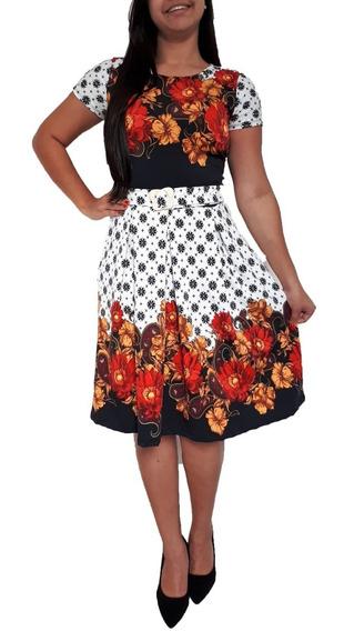 Vestidos Femininos Midi Corte Godê Rodado Moda Evangélica