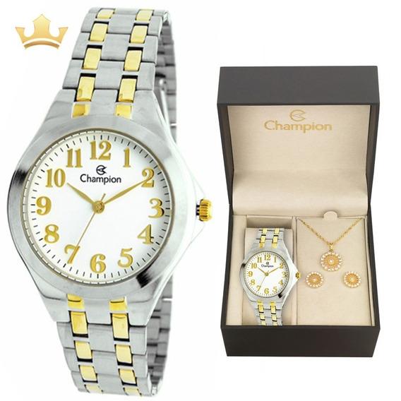 Relógio Champion Feminino Kit Ch22877e Com Nf
