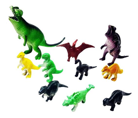 Dinossauro Borracha Miniatura Pequena Brinde Festa C/ 10