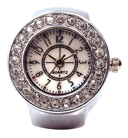 Relógio Feminino Anel De Dedo Todo Em Strass Luxo Mod. A