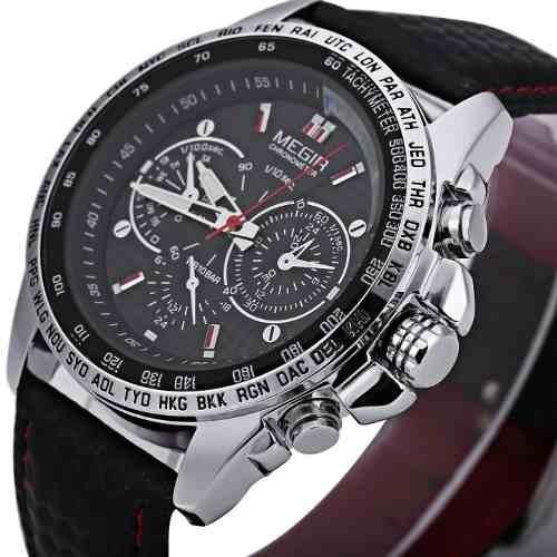 Relógio Original Megir Men Quartz Pulseira Couro Luxo Moda