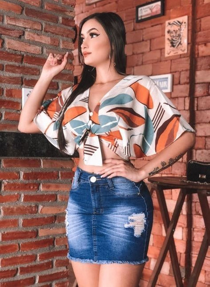 Saia Jeans Feminina Cintura Media Lycra - Premium